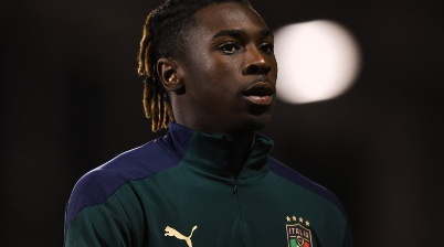 TALLAGHT, IRELAND - OCTOBER 10: Moise Kean of Italy during the UEFA U21 Championships Qualifier match between the Republic of Ireland and Italy at Tallaght Stadium on October 10, 2019 in Tallaght, Ireland. (Photo by Harry Murphy/Getty Images)-Not Released (NR)