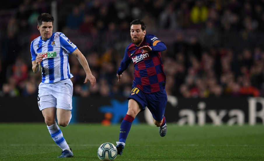 Messi em campo contra a Real Sociedad(2020 Getty Images, Getty Images Europe)