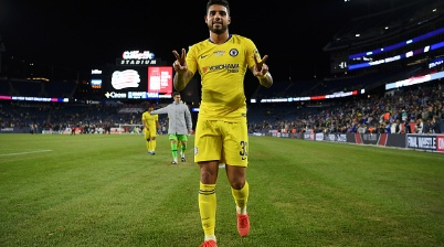 FOXBOROUGH, MASSACHUSETTS - MAY 15: Emerson Palmieri of Chelsea celebrates following the Friendly Match match between New England Revolution and Chelsea at Gillette Stadium on May 15, 2019 in Foxborough, Massachusetts. (Photo by Darren Walsh/Chelsea FC via Getty Images)