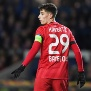 GLASGOW, SCOTLAND - MARCH 12: Kai Havertz in action for Bayer during the UEFA Europa League last 16 first leg between Rangers and Bayer 04 Leverkusen, at Ibrox, on March 12, in Glasgow, Scotland. (Photo by Craig Williamson / SNS Group via Getty Images)