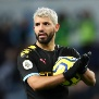 BIRMINGHAM, ENGLAND - JANUARY 12: Sergio Aguero of Manchester CIty celebrates victory with the match ball after he scored a hat-trick during the Premier League match between Aston Villa and Manchester City at Villa Park on January 12, 2020 in Birmingham, United Kingdom. (Photo by Catherine Ivill/Getty Images)