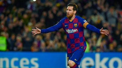 Lionel Messi of FC Barcelona celebrates after storing the 1-0 during the La Liga match between FC Barcelona and Real Sociedad at Camp Nou Stadium on March 7, 2020 in Barcelona, Spain. (Photo by Pressinphoto/Icon Sport via Getty Images)