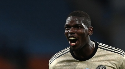 Manchester United's French midfielder Paul Pogba celebrates scoring his team's third goal during the English Premier League football match between Aston Villa and Manchester United at Villa Park in Birmingham, central England on July 9, 2020. (Photo by Shaun Botterill / POOL / AFP) / RESTRICTED TO EDITORIAL USE. No use with unauthorized audio, video, data, fixture lists, club/league logos or 'live' services. Online in-match use limited to 120 images. An additional 40 images may be used in extra time. No video emulation. Social media in-match use limited to 120 images. An additional 40 images may be used in extra time. No use in betting publications, games or single club/league/player publications. /  (Photo by SHAUN BOTTERILL/POOL/AFP via Getty Images)