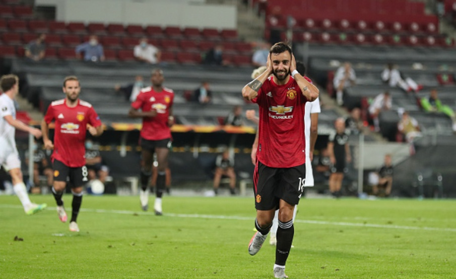 Bruno Fernandes marcou seu 11º gol pelo Manchester United(James Williamson / AMA Sports Photo Agency / Getty Images)