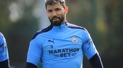 MANCHESTER, ENGLAND - OCTOBER 05: Manchester CIty's Sergio Aguero in action during training at Manchester City Football Academy on October 05, 2020 in Manchester, England. (Photo by Tom Flathers/Manchester City FC via Getty Images)