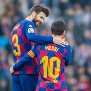 BARCELONA, SPAIN - February 22:   Lionel Messi #10 of Barcelona is congratulated by Gerard Pique #3 of Barcelona after completing his first half hat trick during the Barcelona V Eibar, La Liga regular season match at Estadio Camp Nou on February 22nd 2020 in Barcelona, Spain. (Photo by Tim Clayton/Corbis via Getty Images)