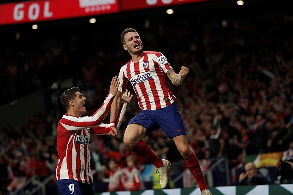 MADRID, SPAIN - OCTOBER 26 :  Saul Niguez (R) of Atletico Madrid celebrates with Alvaro Morata after scoring a goal during the La Liga 10th week match between Atletico Madrid and Athletic Club Bilbao at the Wanda Metropolitano in Madrid, Spain on October 26, 2019. (Photo by Burak Akbulut/Anadolu Agency via Getty Images)
