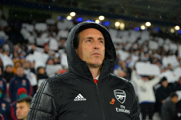 LEICESTER, ENGLAND - NOVEMBER 09: Manager of Arsenal Unai Emery before the Premier League match between Leicester City and Arsenal FC at The King Power Stadium on November 9, 2019 in Leicester, United Kingdom. (Photo by Plumb Images/Leicester City FC via Getty Images)