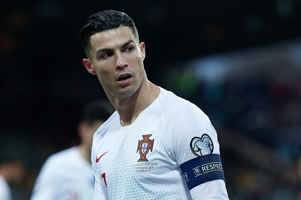 LUXEMBOURG, LUXEMBOURG - NOVEMBER 17: Cristiano Ronaldo #7 of Portugal looks on during the UEFA Euro 2020 Qualifier between Luxembourg and Portugal on November 17, 2019 in Luxembourg, Luxembourg. (Photo by Catherine Steenkeste/Getty Images)