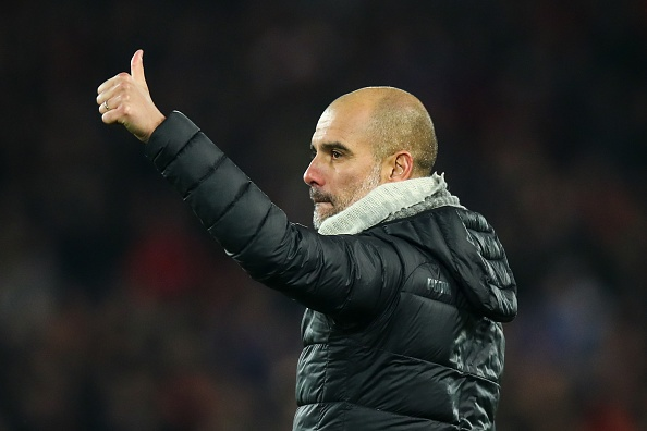 LIVERPOOL, ENGLAND - NOVEMBER 10: A dejected Pep Guardiola the head coach / manager of Manchester City applauds the fans at full time during the Premier League match between Liverpool FC and Manchester City at Anfield on November 10, 2019 in Liverpool, United Kingdom. (Photo by Robbie Jay Barratt - AMA/Getty Images)