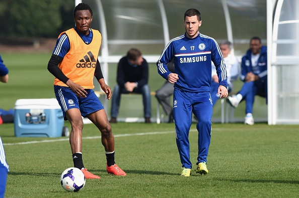 Chelsea's John Obi Mikel, Eden Hazard during a training session at the Cobham Training Ground on 14th March 2014 in Cobham, England.  (Photo by Darren Walsh/Chelsea FC via Getty Images)