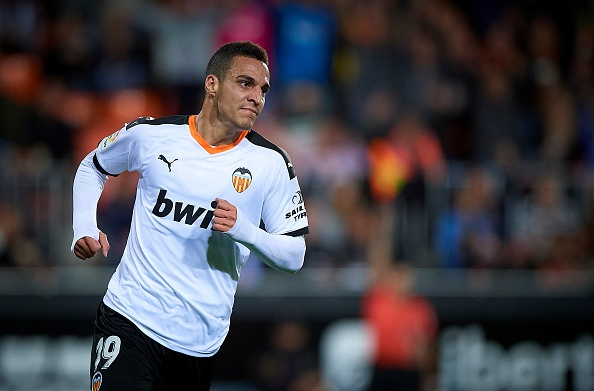 VALENCIA, SPAIN - NOVEMBER 30: Rodrigo Moreno of Valencia reacts during the Liga match between Valencia CF and Villarreal CF at Estadio Mestalla on November 30, 2019 in Valencia, Spain. (Photo by Pablo Morano/MB Media/Getty Images)