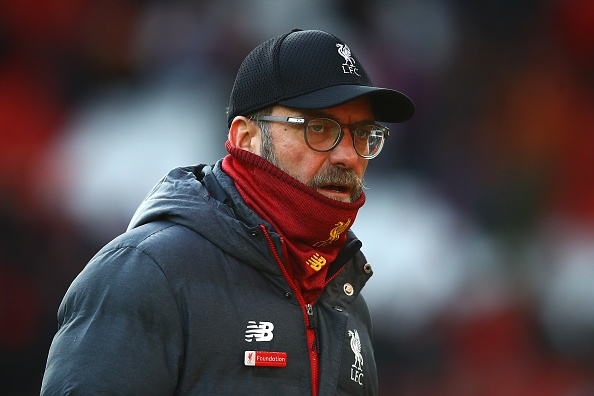 LIVERPOOL, ENGLAND - DECEMBER 14: Liverpool manager Jurgen Klopp looks on during the Premier League match between Liverpool FC and Watford FC at Anfield on December 14, 2019 in Liverpool, United Kingdom. (Photo by Chris Brunskill/Fantasista/Getty Images)