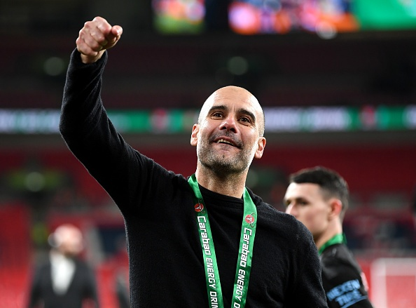 LONDON, ENGLAND - MARCH 01:  Pep Guardiola, Manager of Manchester City celebrates after his sides victory in the Carabao Cup Final between Aston Villa and Manchester City at Wembley Stadium on March 01, 2020 in London, England. (Photo by Michael Regan/Getty Images)