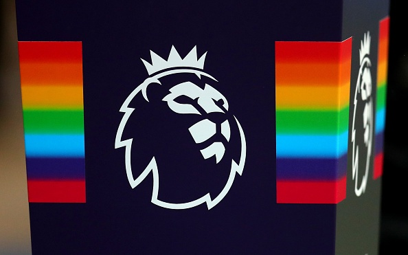 MANCHESTER, ENGLAND - DECEMBER 01: Stonewall rainbow plinth with the Premier League logo on ahead of the Premier League match between Manchester City and AFC Bournemouth at Etihad Stadium on December 1, 2018 in Manchester, United Kingdom. (Photo by Catherine Ivill/Getty Images)