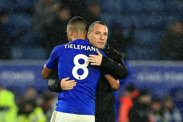 Leicester City Manager Brendan Rodgers and Youri Tielemans of Leicester City during the Premier League match between Leicester City and Aston Villa at the King Power Stadium, Leicester on Monday 9th March 2020. (Photo by Leila Coker/ MI News/NurPhoto via Getty Images)