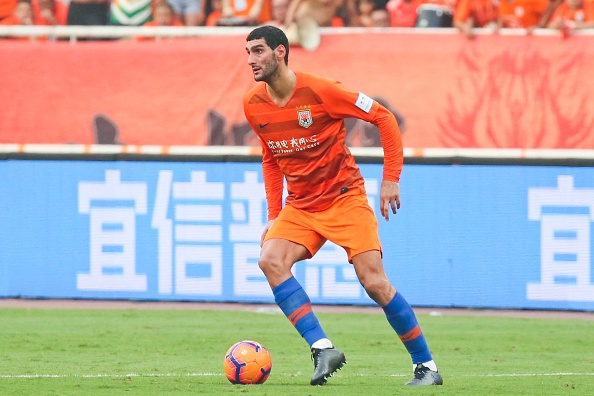 JINAN, CHINA - JULY 24: Marouane Fellaini #25 of Shandong Luneng drives the ball during the 2019 Chinese Football Association (CFA) Cup quarter-final match between Shandong Luneng and Beijing Guoan at Jinan Olympic Sports Center Stadium on July 24, 2019 in Jinan, Shandong Province of China. (Photo by Visual China Group via Getty Images/Visual China Group via Getty Images)