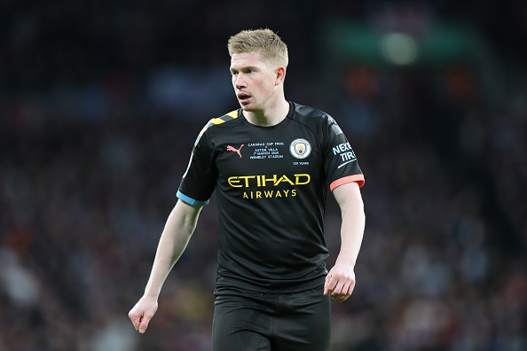 Kevin De Bruyne (17) of Manchester City during the Carabao Cup Final between Aston Villa and Manchester City at Wembley Stadium, London on Sunday 1st March 2020. (Photo by Jon Bromley/MI News/NurPhoto via Getty Images)